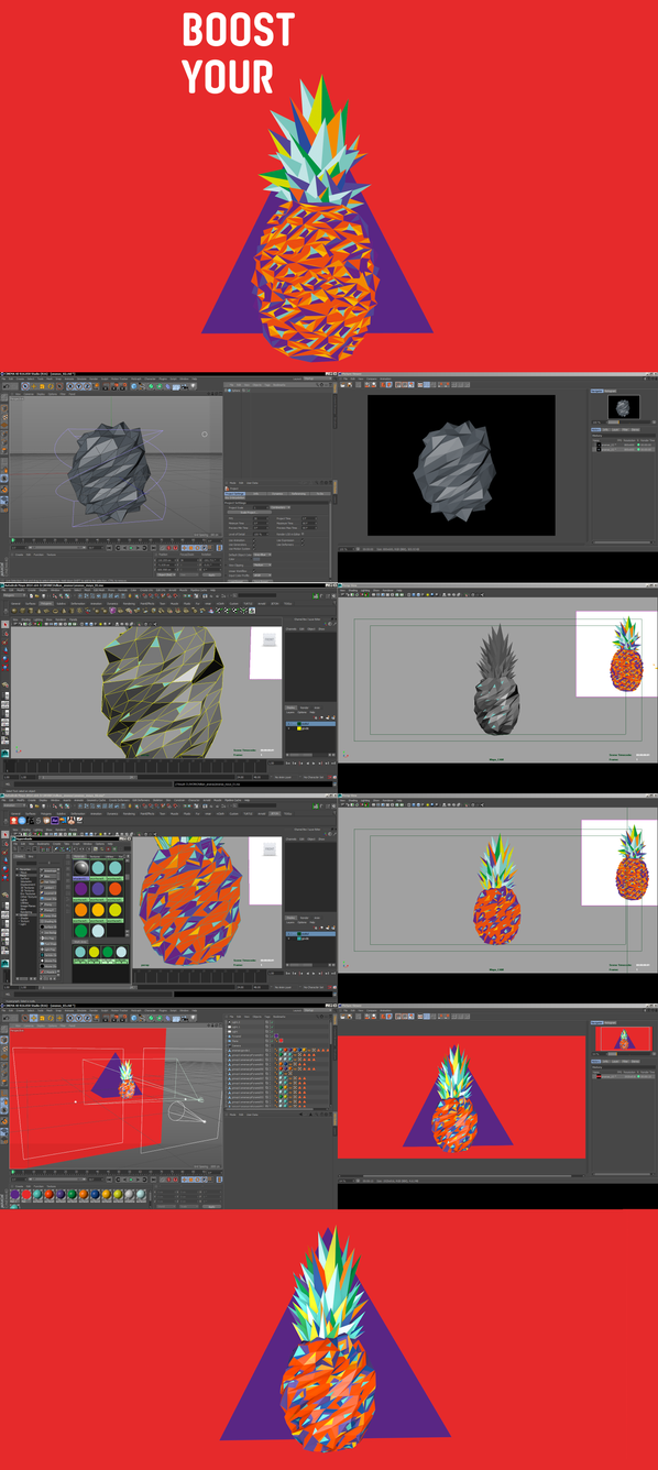 pineapple makingOf 3D by alperdurmaz
