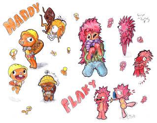 2 Happy Tree Friend characters in random styles by TitaniumGrunt7