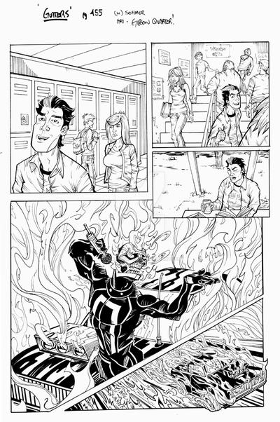 GUTTERS 455  lineart Ghost Rider by GibsonQuarter27