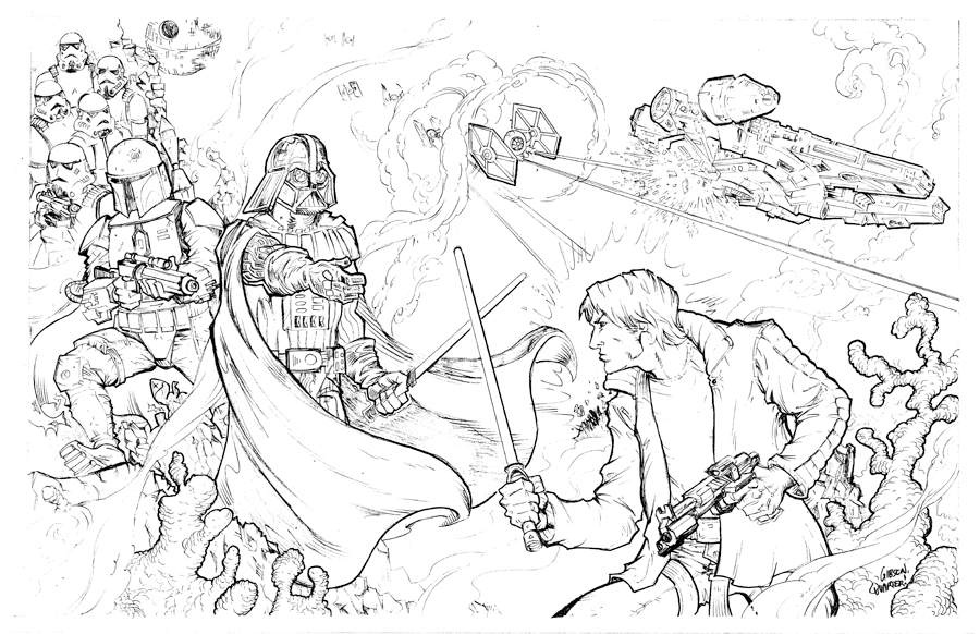 Star wars! Darth Vader tempts Luke Skywalker by GibsonQuarter27
