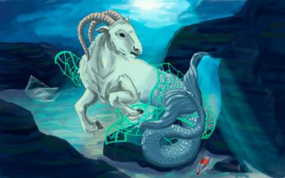 Stuck sea goat by Klaritaa