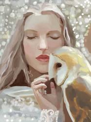 Girl, pearls and owl by Klaritaa