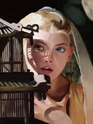 Natalie Dormer with bird cage by Klaritaa