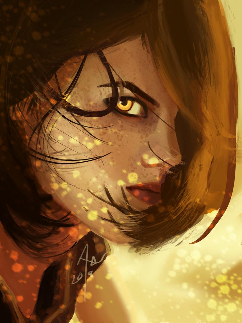 Freckled girl by Klaritaa