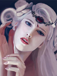 White haired woman by Klaritaa