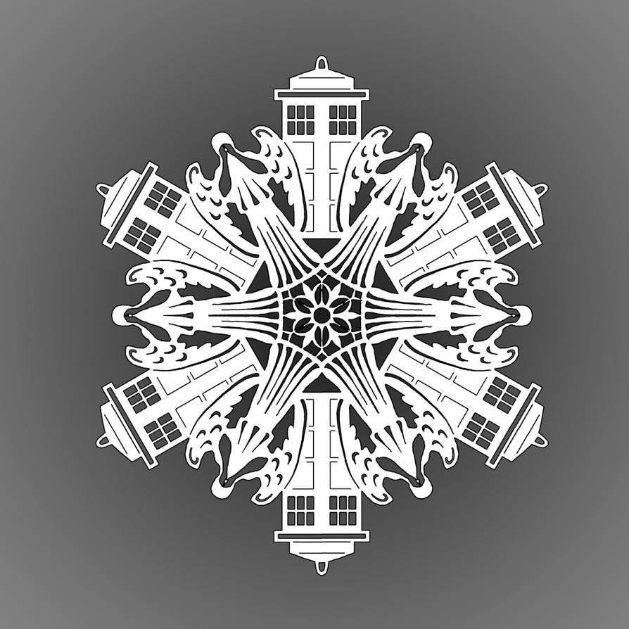 Weeping angel and TARDIS paper snowflake by 13Katyusha13 on DeviantArt