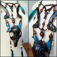 Blue Moon Fox Spirit Necklace by Elorhan