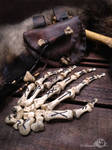 Human Hand Bone Rune Set with Leather Pouch by Elorhan