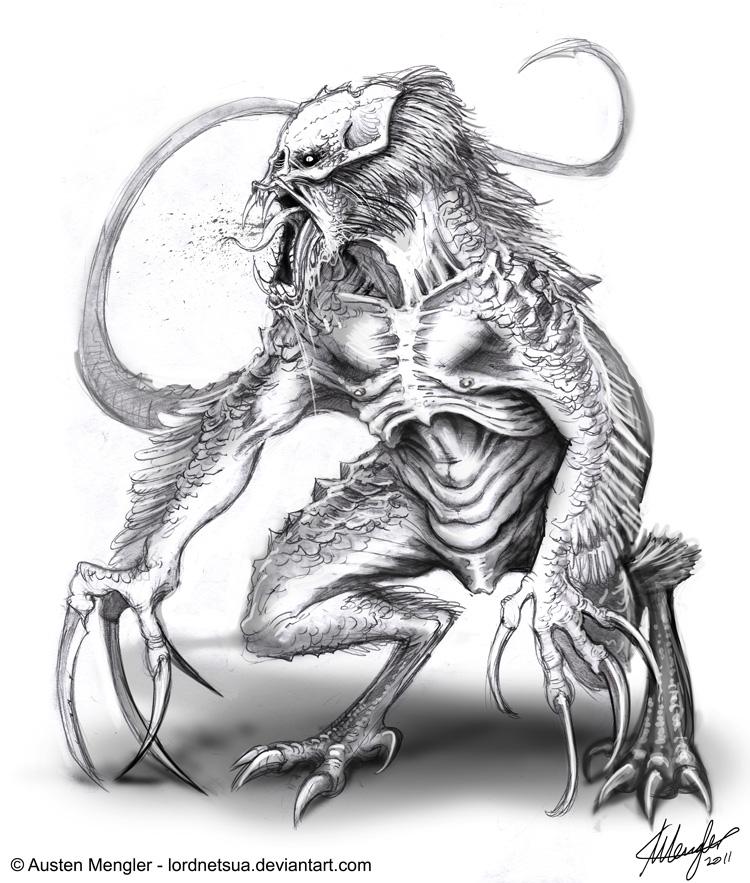 Creature Design: Concept 7 - Dino Predator by LordNetsua