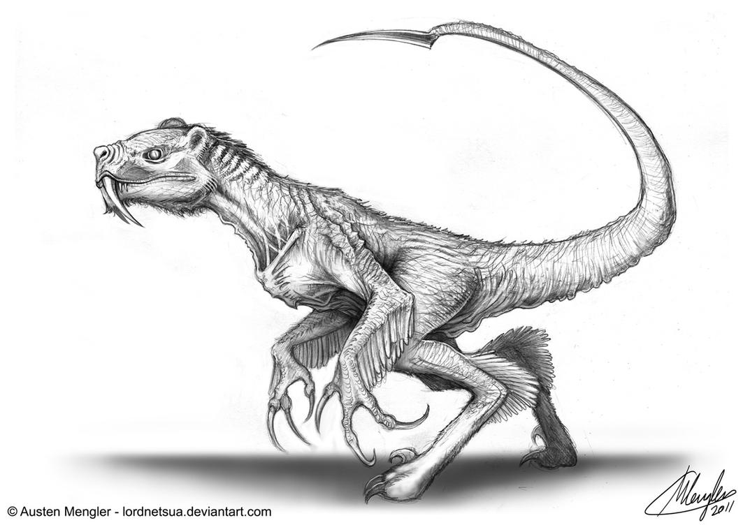 Creature Design: Concept 8 - Sabertooth Raptor by AustenMengler