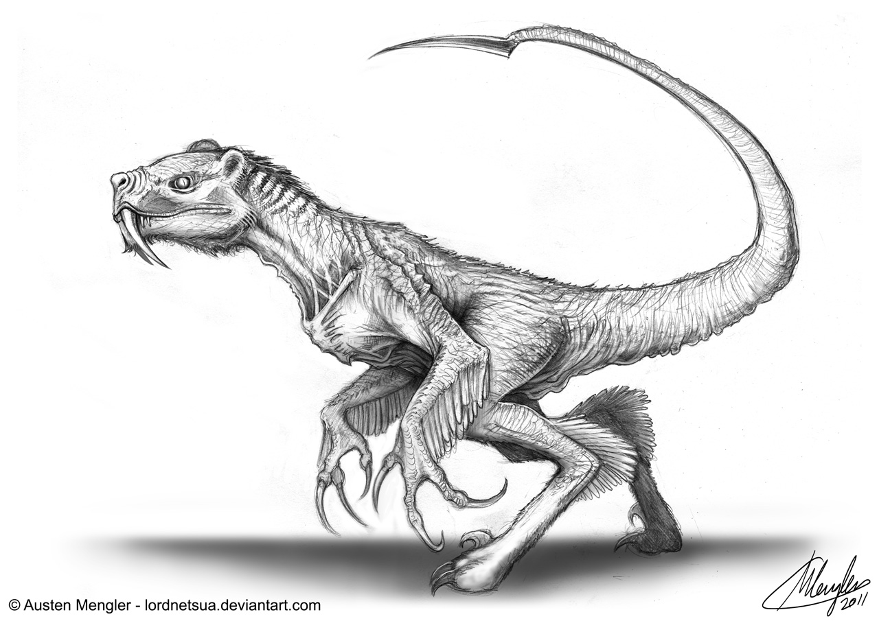 Creature Design: Concept 8 - Sabertooth Raptor by LordNetsua