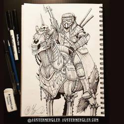 Mounted Warrior - Inktober 16 2018 by AustenMengler