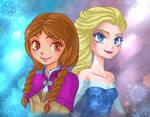 Frozen Anna and Elsa - Fanart