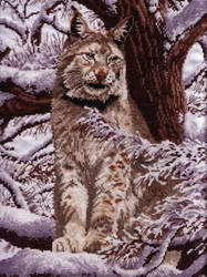 Cross Stitch Siberian Lynx