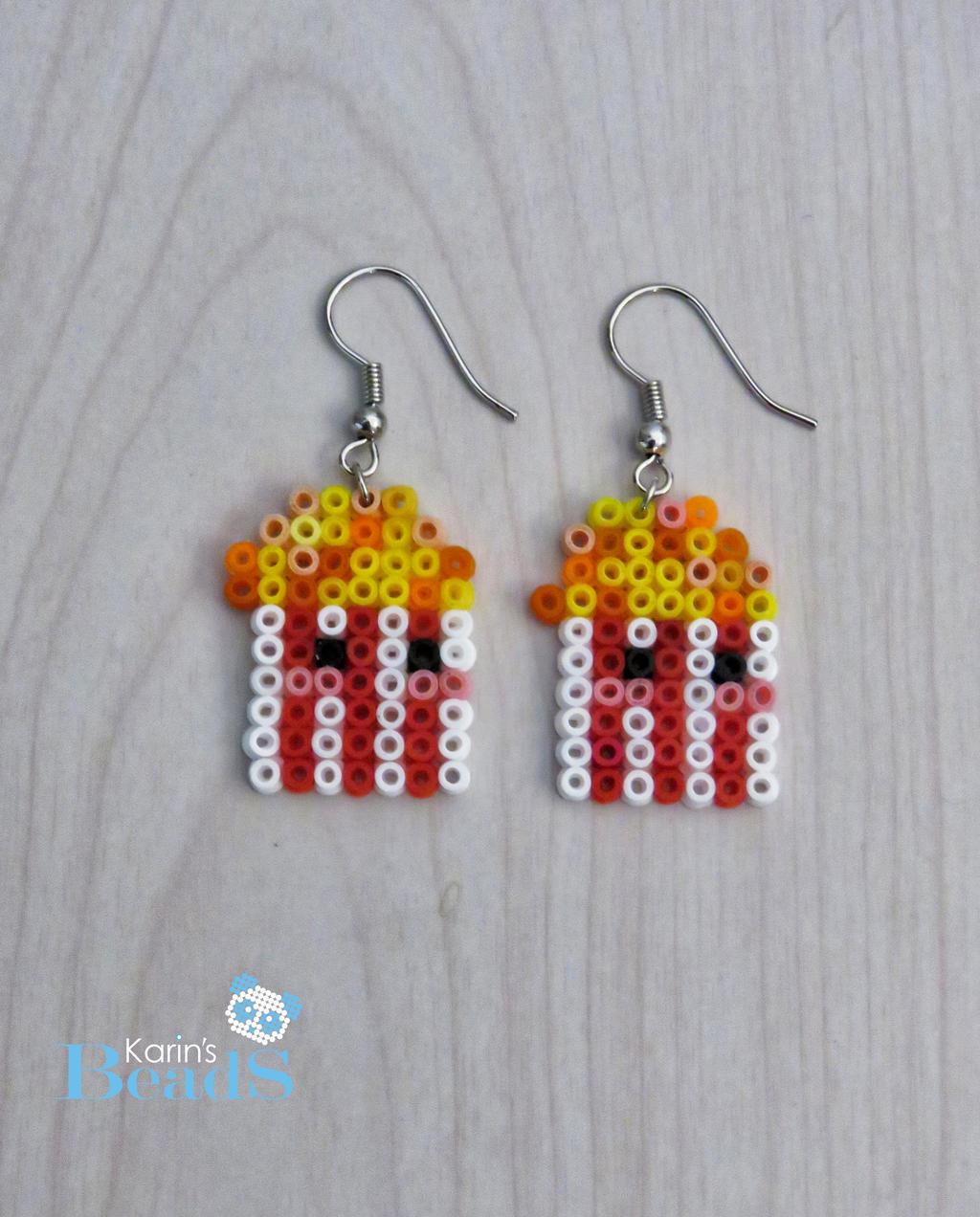 Popcorn Earrings Hama Beads By Karinmind Popcorn Earrings Hama Beads By  Karinmind