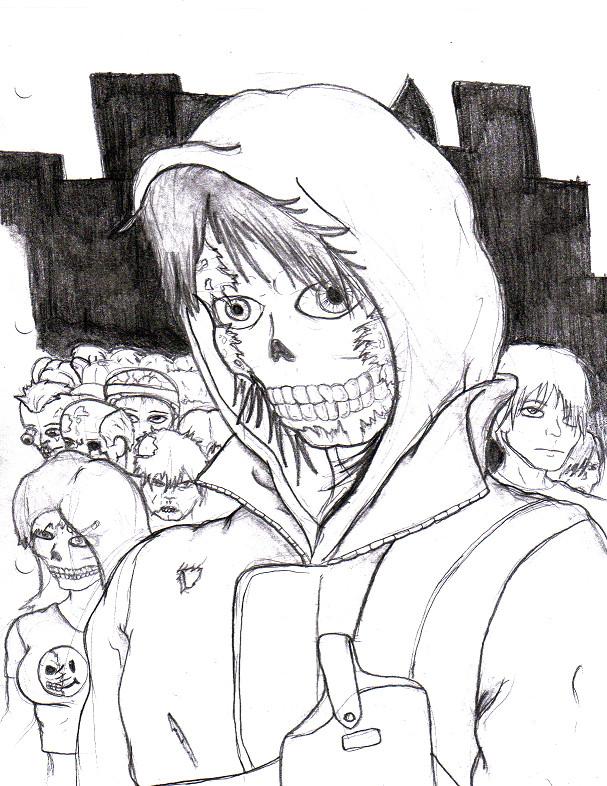 Skull faced boy version 2 by Blazeblackwing