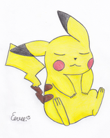 Sleeping Pikachu by kawaiiusa-chan