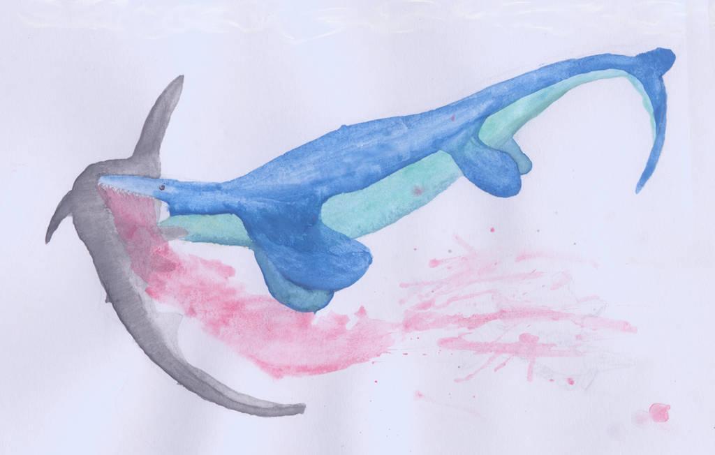 Tylosaurus ft Cretoxyrhina by ijreid