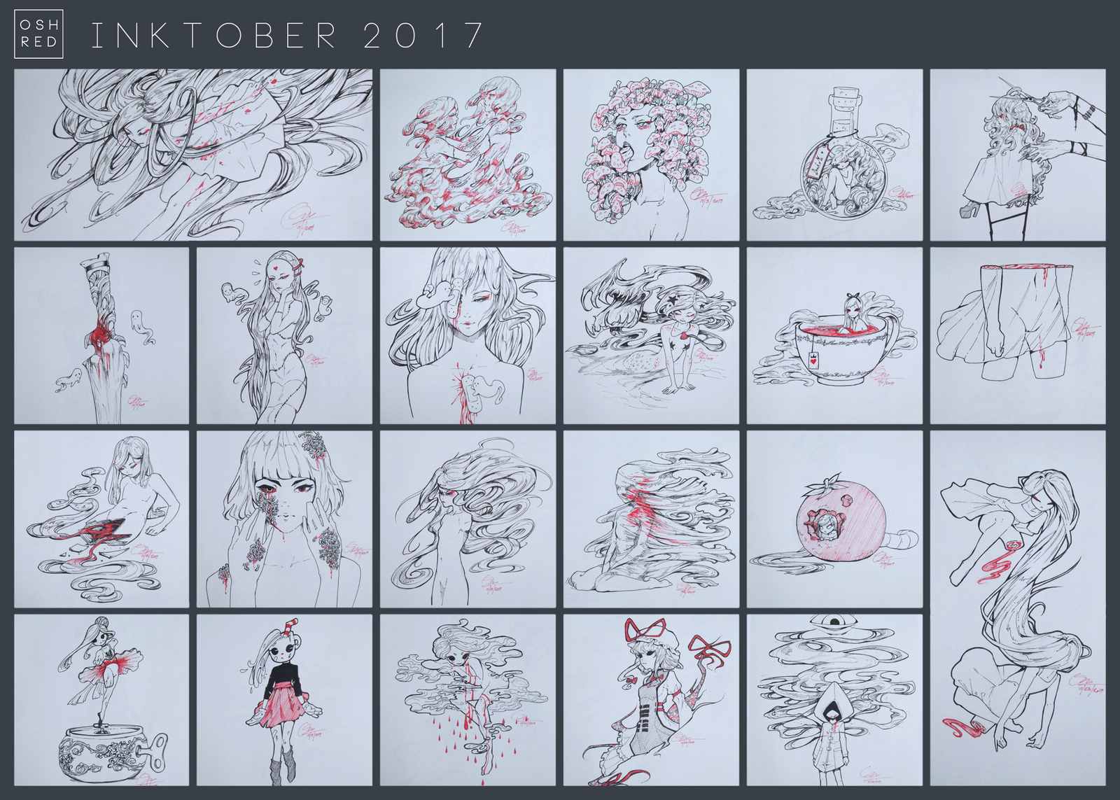 Inktober 2017 by oshred on deviantart for Craft fairs near me november 2017