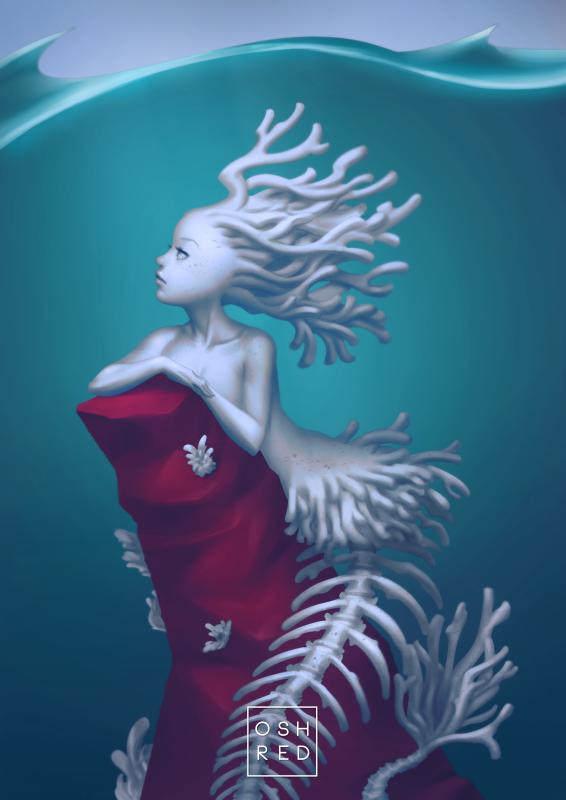 Coral Skeleton Mermaid