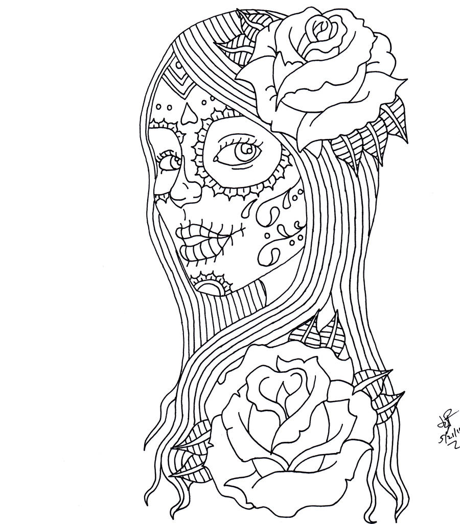 The gallery for day of the dead girl drawings for Day of dead coloring pages