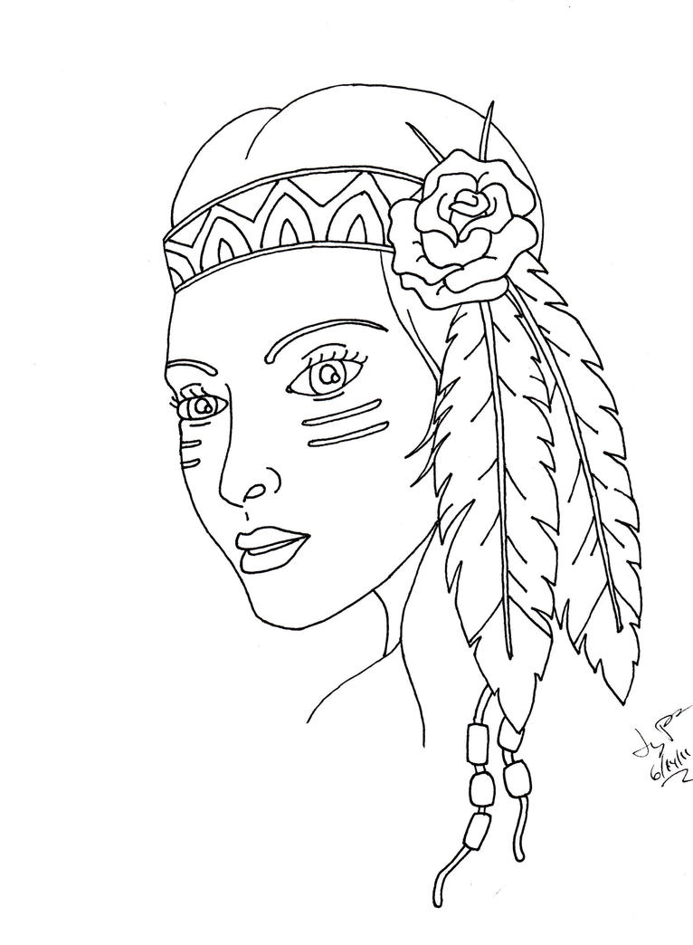 Indian girl by itsanocean on deviantart for Girl indian coloring pages