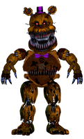 Nightmare Fredbear Full Body Front View [Request] by RealityWarper45