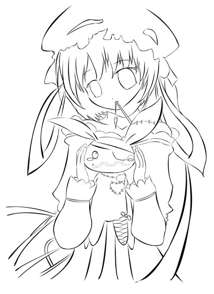 Gothic Anime Girl - Inked vers by dreameronPoT on DeviantArt