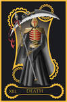 Steampunk tarot of Death by flamarahalvorsen