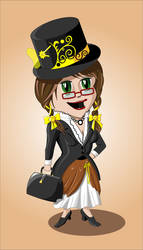 New steampunk chibi ID by flamarahalvorsen