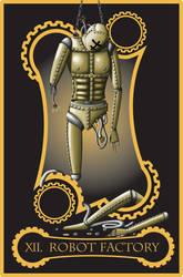 Steampunk tarot of hanged man by flamarahalvorsen