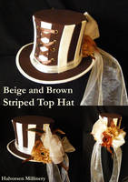 Beige and Brown Striped Top Hat by flamarahalvorsen