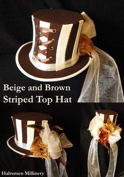 Beige and Brown Striped Top Hat