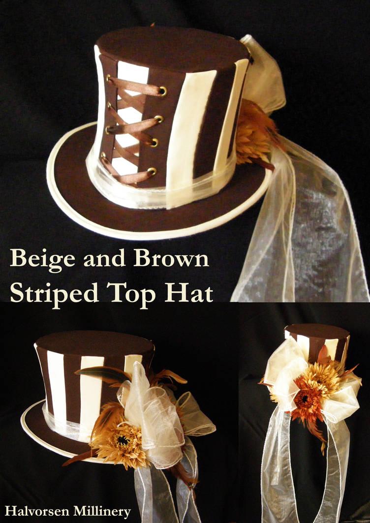 Beige and Brown Striped Top Hat by flamarahalvorsen