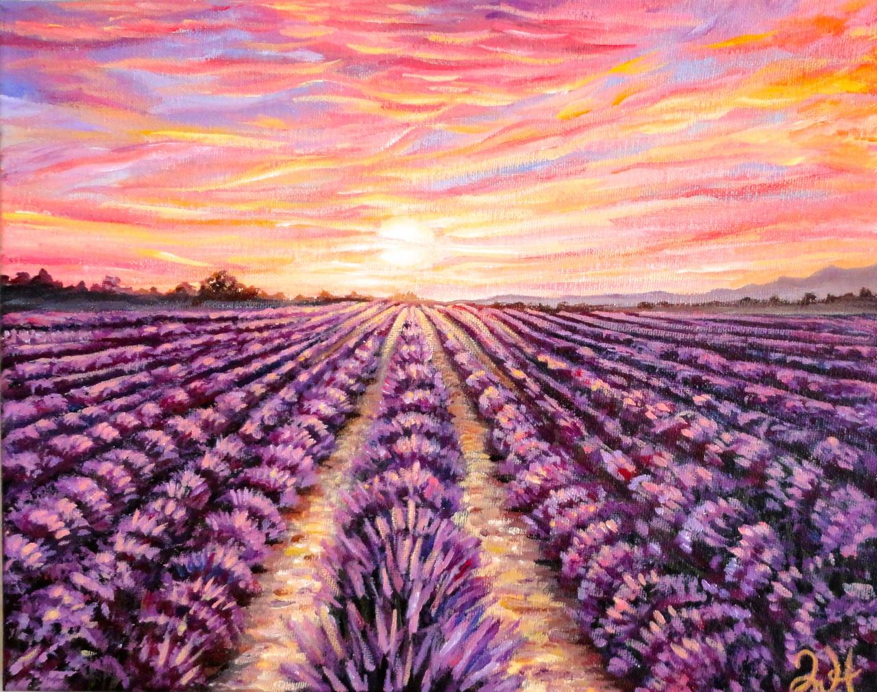 Provence Lavender Field at Sunset by Manukahoney7 on DeviantArtAcrylic Paintings Sunset