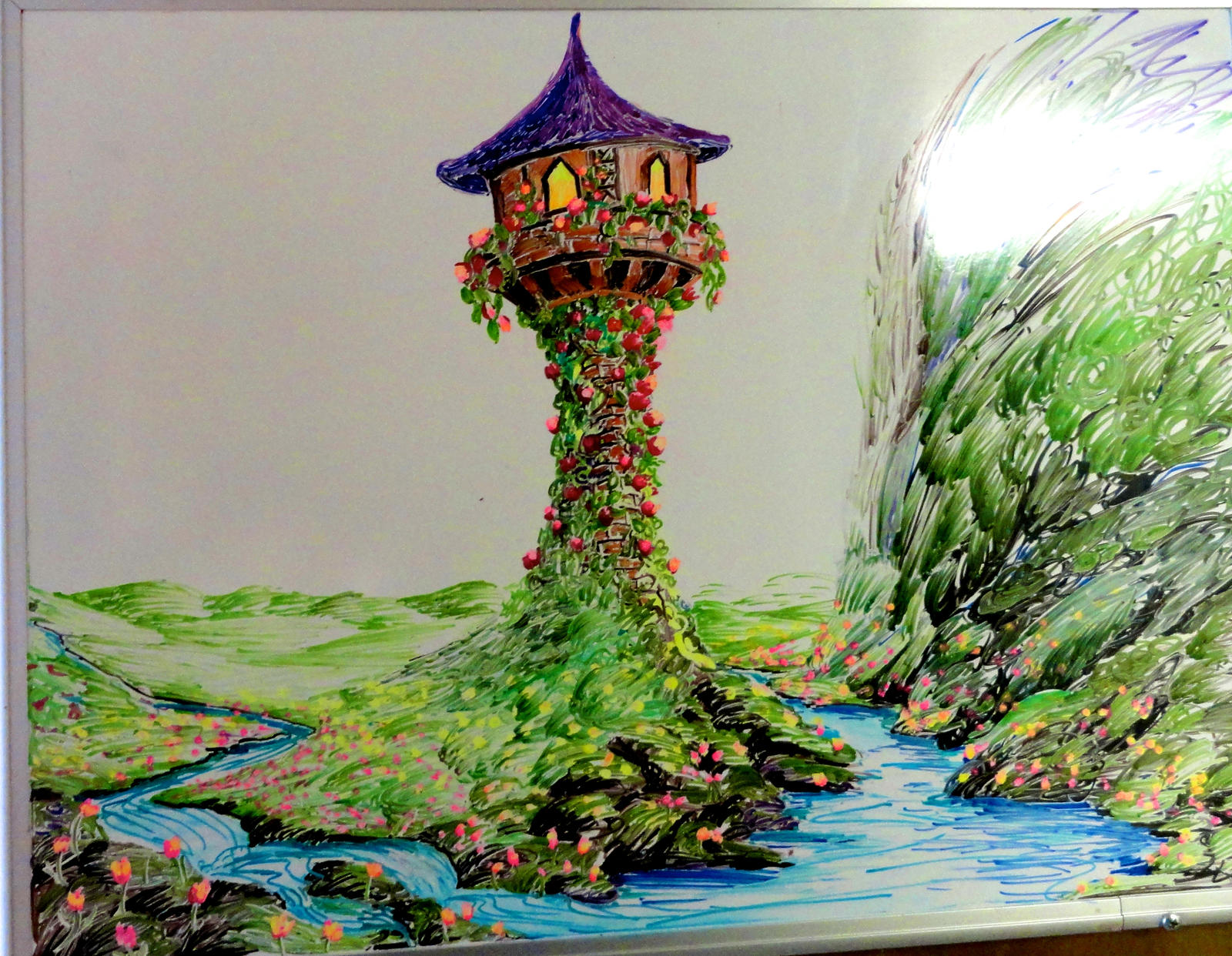 Rapunzel 39 s tower from tangled whiteboard drawing by for Cute whiteboard drawings