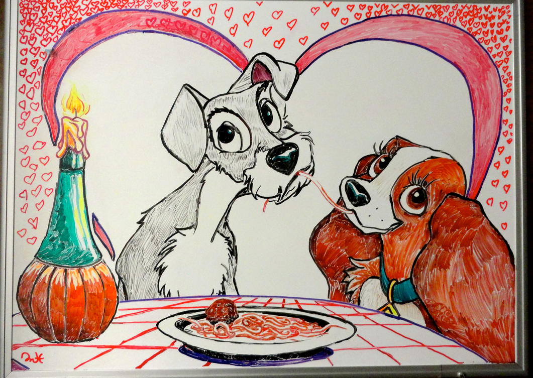Lady and the tramp white board drawing by manukahoney7 for Cute whiteboard drawings