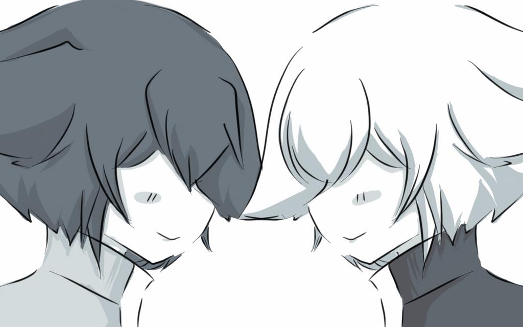 Monochrome Twin : Shiroko and Kuroto by crocell