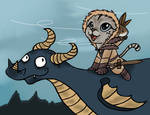 Choupette et Civet sur un dragon