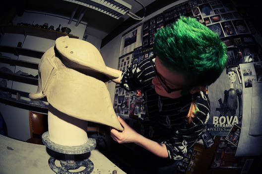 Green Hair and a Helmet