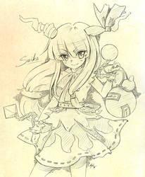 Suika Ibuki - sketch by Ninamo-chan