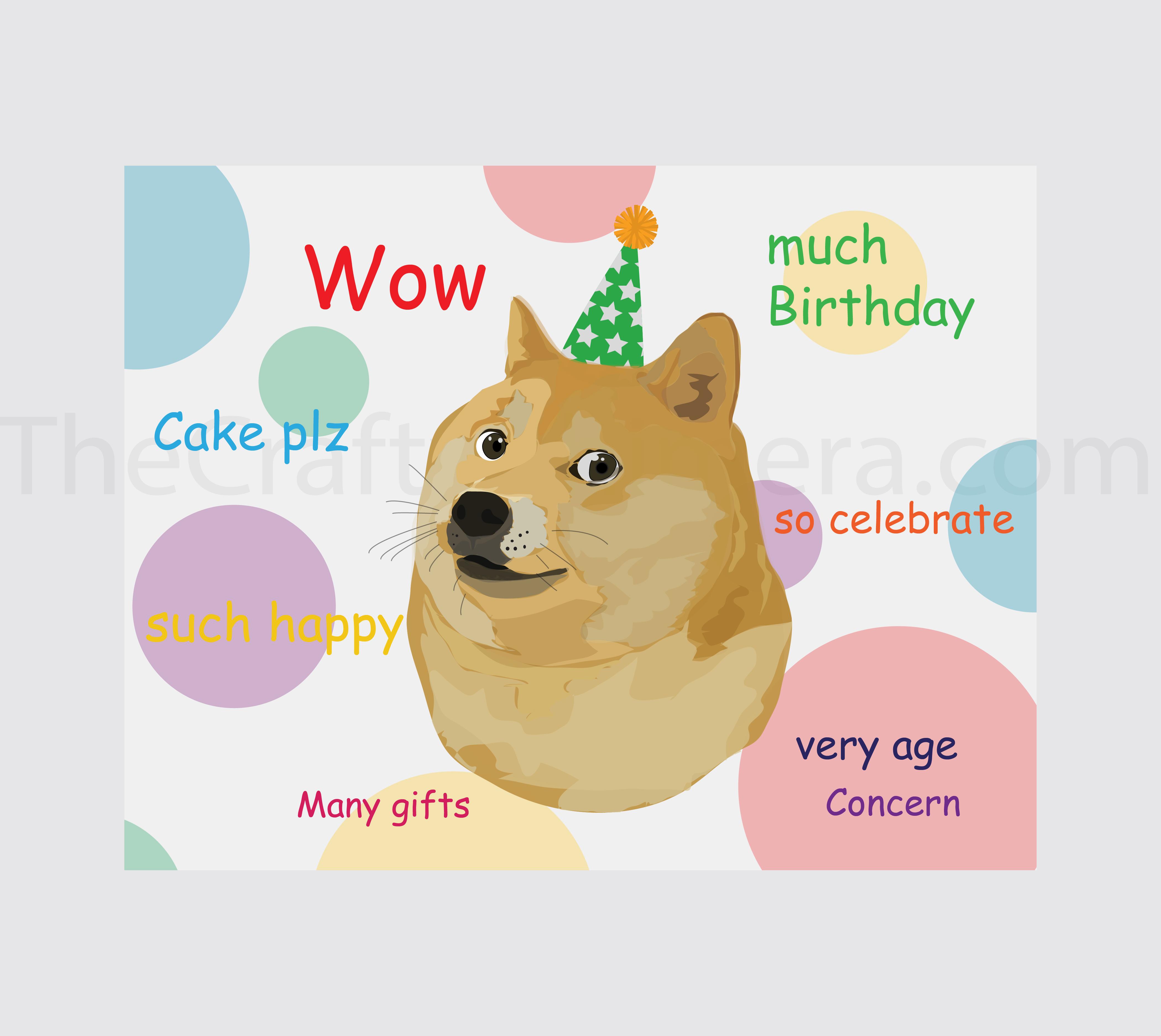 Doge Meme Funny Birthday Card  Etsy