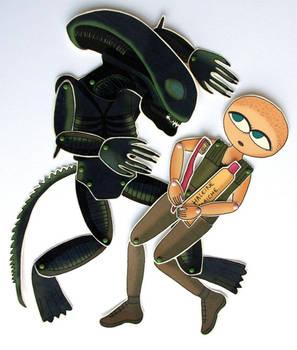 Alien versus Sigourney - Paper dolls caricature