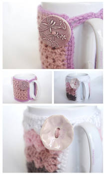 Crochet Cozy Mug Pink for Coffee Lover and Teatime