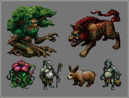 Forest Monsters by paintpixelprint
