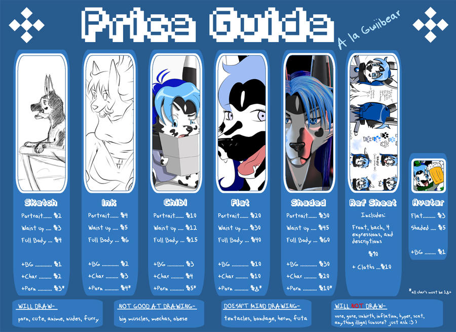 Price guide by Gwiibear