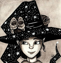 Ink Wash -  Little Owl Witch