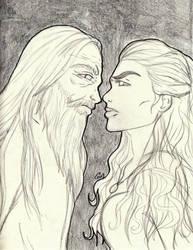 Sketchbook 02 - Emrys vs Morgana by NobodyRoxasXIII
