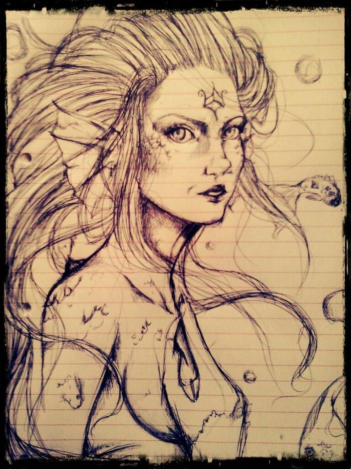 Mermaid sketch by Arashy-Chan