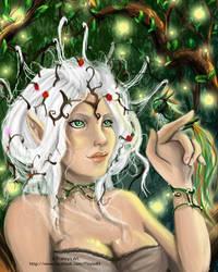 Elf with bird by Arashy-Chan